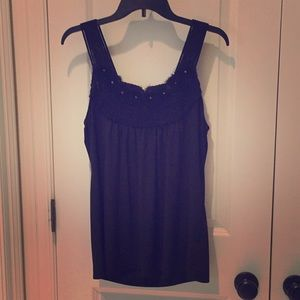 Eci Black tank with rosette details